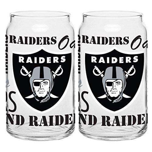 NFL Oakland Raiders Spirit Glass Can, 16-ounce, 2-Pack