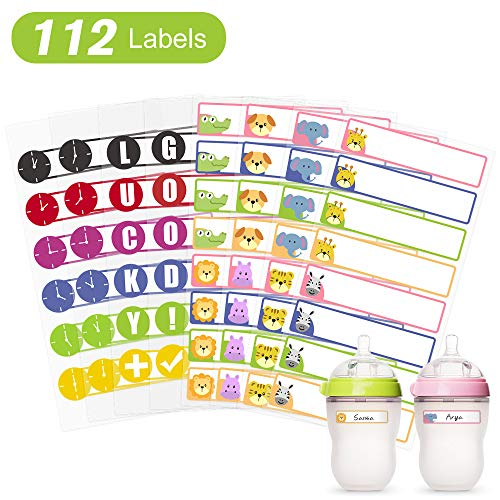(Waterproof Baby Bottle Labels for Daycare School Kids Sippy Cup, Dishwasher Safe, Self Laminating Write on Name Stickers, 112 Labels)
