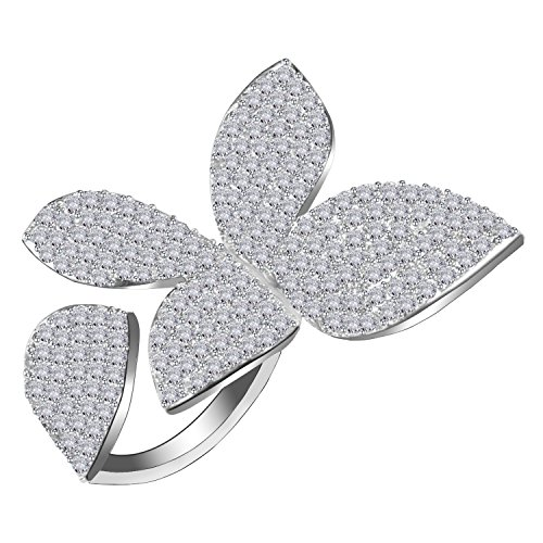 LILIE&WHITE Unique Large Flower Cubic Zirconia CZ Silver Open Cluster Cocktails Ring Adjustable Size 7\8 Flower Cocktail Adjustable Ring