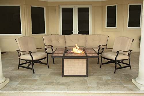Hanover Outdoor Furniture TRADTILE4PCFP Traditions Tile Tabletop Fire Pit Lounge Set (4 Piece), Natural Oat/Antique Bronze For Sale