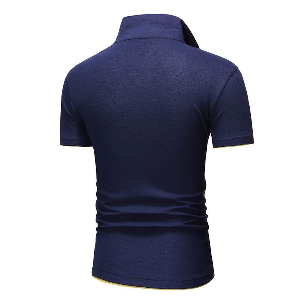 Huazi2 Casual Slim Fit Basic Shirt Tops Summer Short Sleeve Polo Shirt for Men