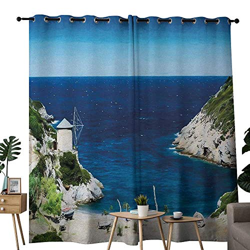 NUOMANAN Curtains Beach,Rocky Sandy Cove North of The Old Town Alonissos Calm Seascape Idyllic Scenery,Blue White Green,Treatments Thermal Insulated Light Blocking Drapes Back for Bedroom ()
