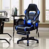 Giantex Gaming Chair Racing Chair Ergonomic High-Back with Footrest and Lumbar Support Adjusting Swivel Executive Office Desk Gaming Chair (Blue)