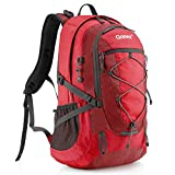 Gonex 40L Backpack for Hiking Camping Outdoor Trekking Daypack, Waterproof Backpack Cover included (Red)