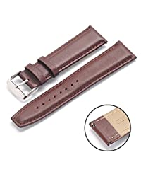 Rerii 22mm Width Genuine Leather Band Strap with Quick-Release Pins for Moto 360 2 46mm / Samsung Galaxy Gear 2,Gear 2 Neo,Gear 2 Live / LG G Watch W100,R W110,Urbane W150 / Pebble Time & Time Steel