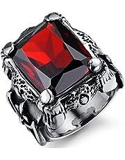 خاتم رجالي من التيتانيوم الصلب فينتيجا كلاسيك أحمر الماس خاتم للرجال US9mr8