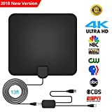 HDTV Antenna Amplified Indoor TV Antenna 60-80 Miles Digital HDTV Indoor Antenna with Detachable Amplifier Signal Booster, USB Power Supply and 13.2FT Coax Cable Support 4K 1080P 【2018 New Version】