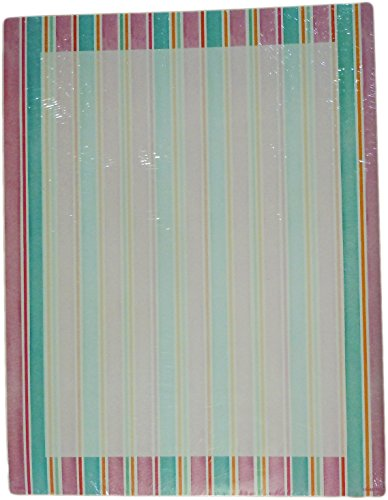 Recycled Paper Greetings Designer Printer Paper - Abstract Borders (Pink & Blue Stripes Border) Pink Stripe Border