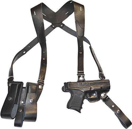 GLOCK 19, 23, 25, 32, 38 shoulder gun holster with double magazine holder, genuine leather, black, - Holster Shoulder 32