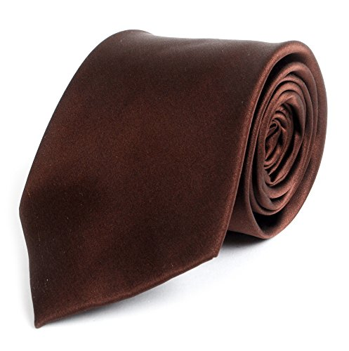 Brown Silk Tie - Solid Silk Mens Plain Multi Color Tie, Brown