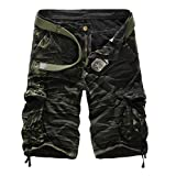 Geval Men's Relaxed Fit Cotton Cargo Short Pants With Multi Pockets Black