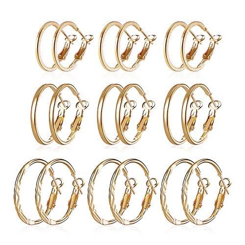 Delicate Hoop (Zealmer Set of Hoop Earrings 3 Styles Clip on Earrings Gold Tone 2.1-2.5CM 9 Pairs for Girls)