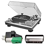 Audio Technica AT-LP120-USB Direct-Drive Professional Turntable (Silver) w/ Knox Carbon Fiber Brush & Additional AT95E Cartridge