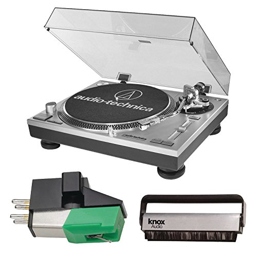 Audio Technica AT-LP120-USB Direct-Drive Professional Turntable (Silver) w/ Knox Carbon Fiber Brush & Additional AT95E Cartridge by Knox
