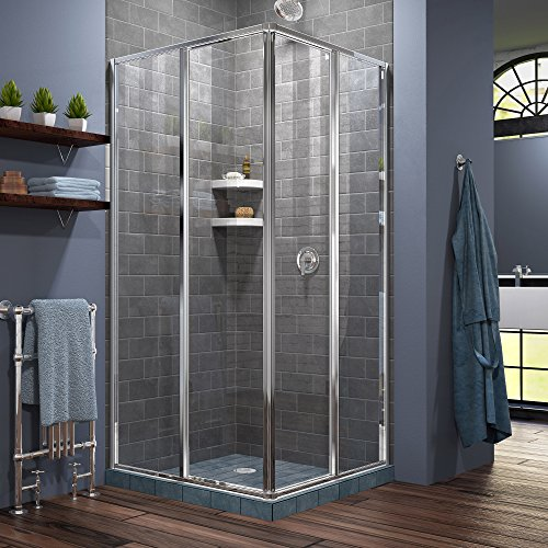 DreamLine Cornerview 34 1/2 in. D x 34 1/2 in. W x 72 in. H Framed Sliding Shower Enclosure in Chrome, SHEN-8134340-01 - Corner Entry Shower Door