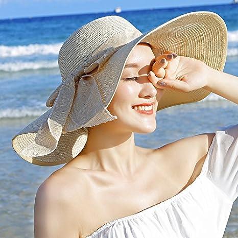LOF-fei Donna Estate Cappello da Sole Tesa Largo Spiaggia Cappucci di Paglia  floscio Protezione 511a24885bf6