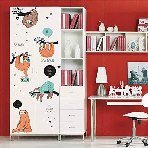 Dosige Dessin anim/é Chaud Paresseux Animaux Stickers muraux Salon Chambre Chambre Enfants Autocollants d/écoratifs muraux 60cm 90cm