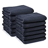 "Sure-Max 12 Moving & Packing Blankets - Pro Economy - 80"" x 72"" (35 lb/dz weight) - Quilted Shipping Furniture Pads Navy Blue and Black"