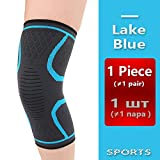 A_ZOS Awesome Lake Blue Color Breathable warmth Knee Pad 1 Pcs