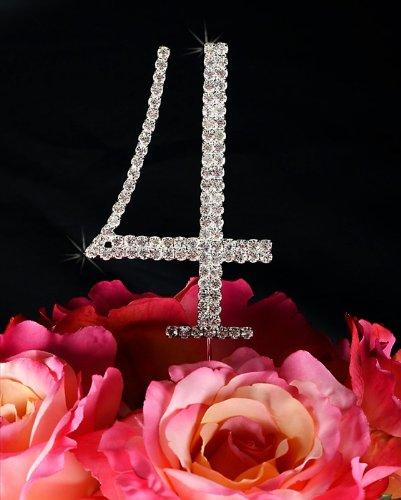 Renaissance Crystal Four - Crystal Monogram Cake Topper Renaissance Style - Number 4
