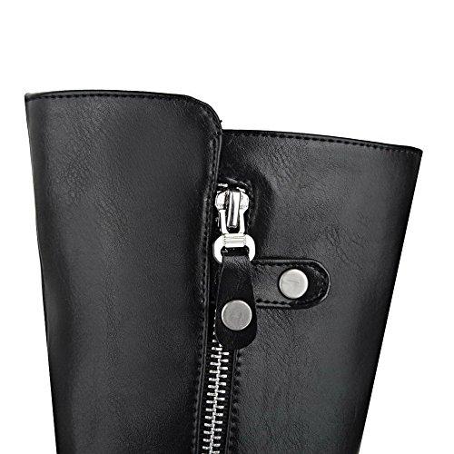 AmoonyFashion Womens Mid-Top Zipper Soft Material Kitten-Heels Round Closed Toe Boots Black jyI0NW