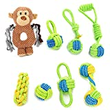 Dog Rope Toy – Puppy Chew Teething Toys – Mokey Dog Toy – 100% Nature Cotton Ball Toy – 8 Pack Rope chew Toys for Small and Medium Dog – Interactive Play Toy for toss and tug Play