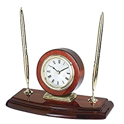 Upper Gifts Elegant Rosewood Double Pen Stand with Clock