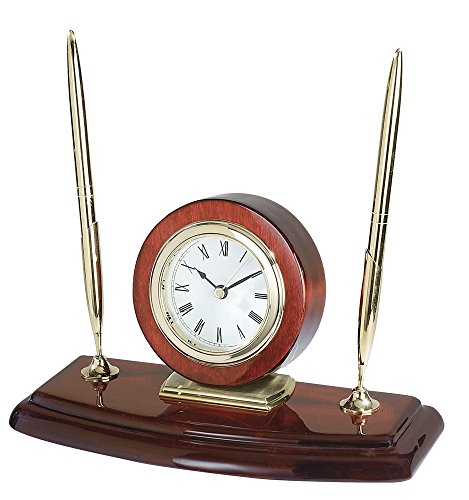 Upper Gifts Elegant Rosewood Double Pen Stand with Clock ()