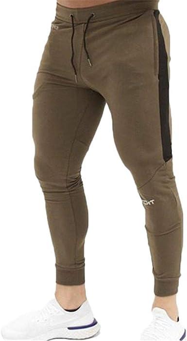 T-HOENNKST Pantalones de chándal de algodón para Hombres ...
