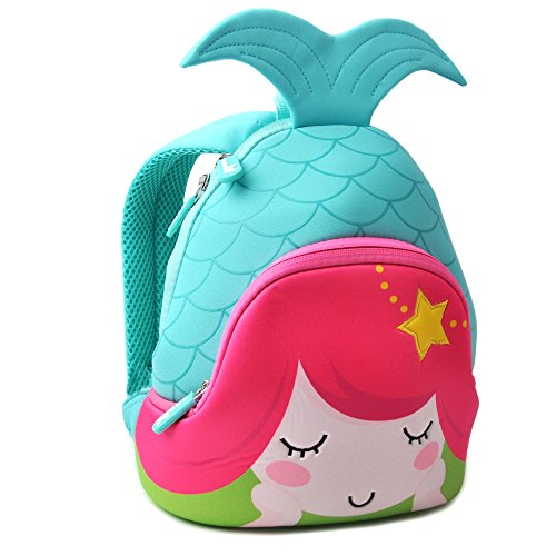 Mermaid Kids Backpack F40C4TMP Toddler Kindergarten Pre-School Waterproof Animal Cartoon Bag Red by F40C4TMP