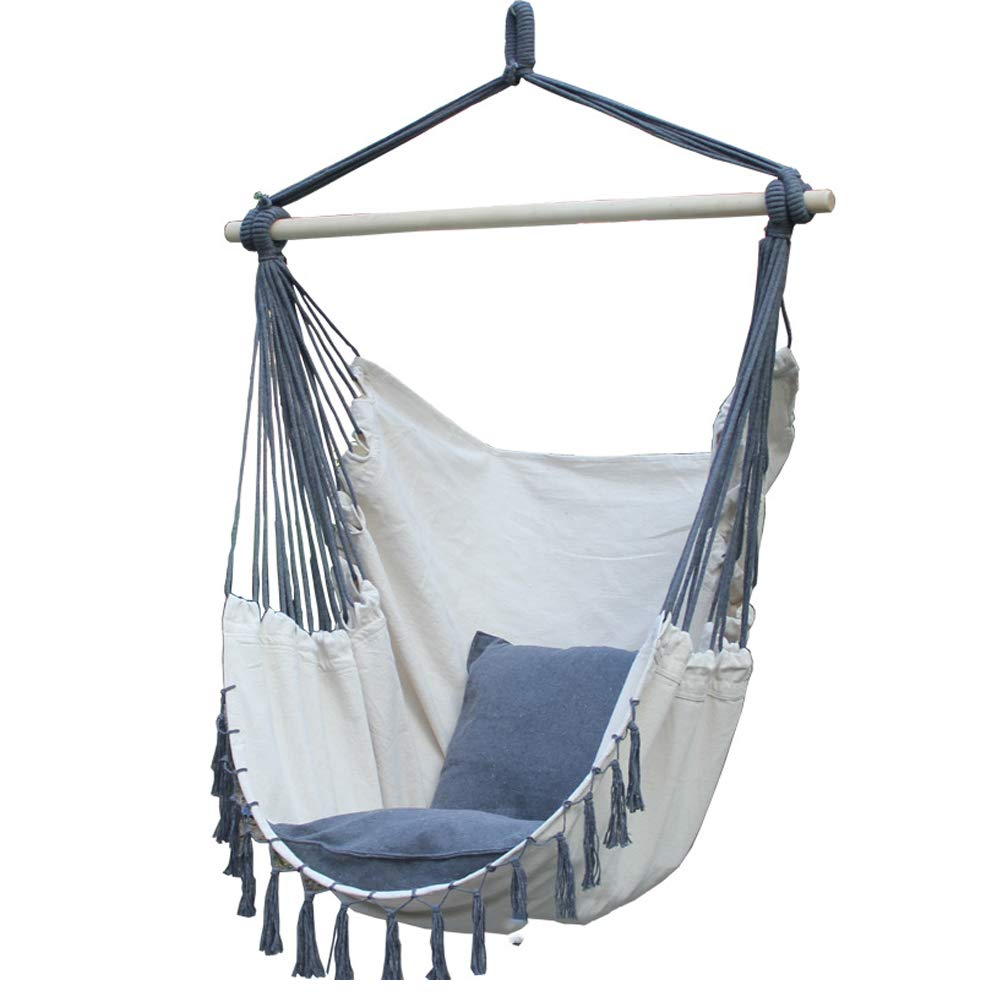 Outdoors Tassel Hammock Chair Large Cotton Rope Hanging Chair Swing with Wood Bar Suitable for Patio, Porch, Bedroom, Backyard, Indoor