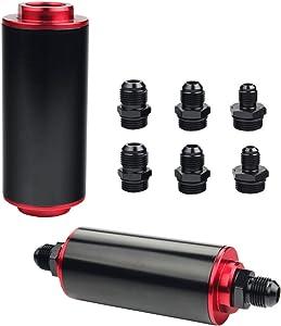 Dewhel Inline Fuel Filter High FLOW 100 Micron Cleanable SS AN6 AN8 AN10 Universal 50MM Black Aluminium