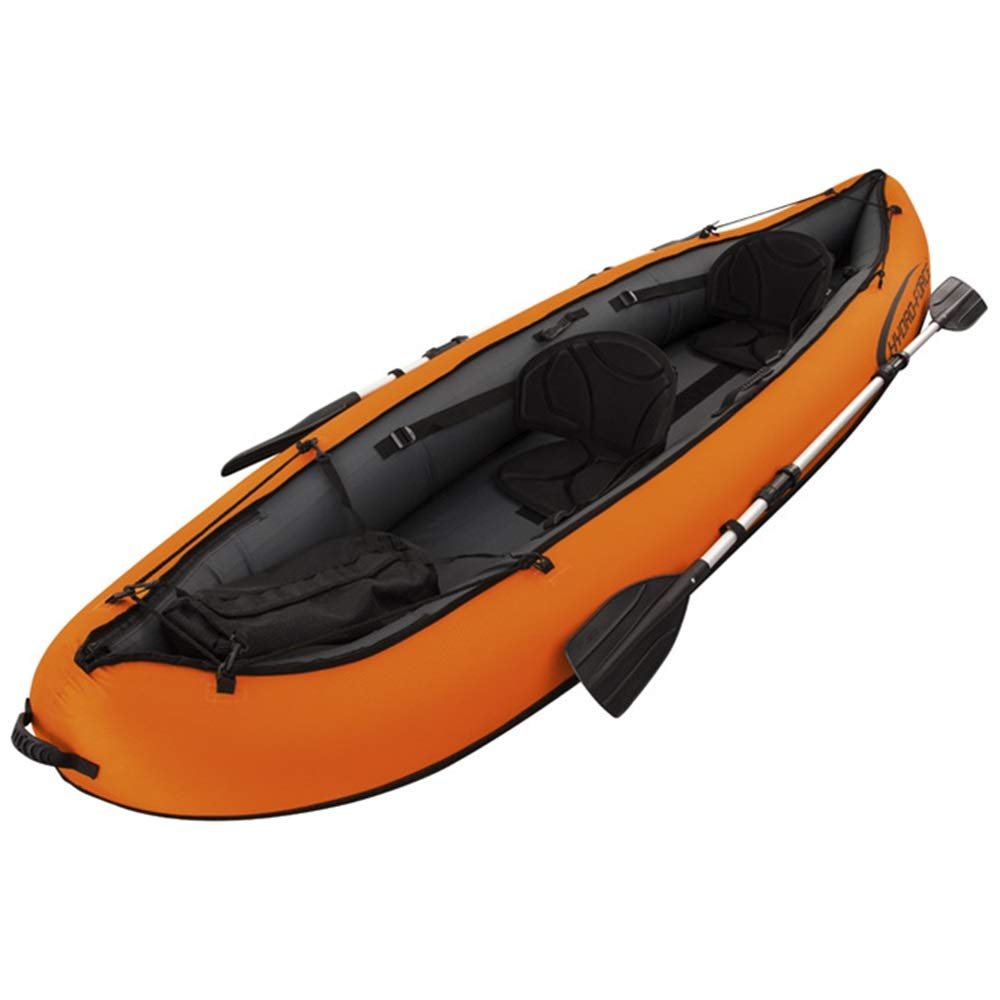 BoeWan Durability Inflatable Kayaks Durable Drifting Inflatable Boat Rubber Rowing, Double Canoe Two-Person Ship Propeller Air Pump (Color : Orange, Size : 330×94CM) by BoeWan