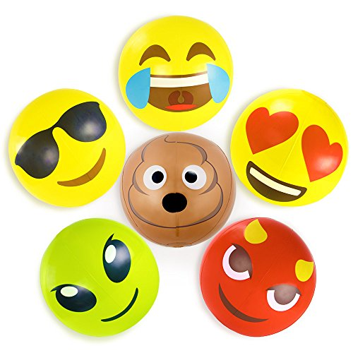 (Beach Ball Set with Emoji Faces: Unique Pool & Birthday Party Gifts or Favors for Kids & Teens: 6 Funny Emojies -- Choose Your Size! (18-inch,)