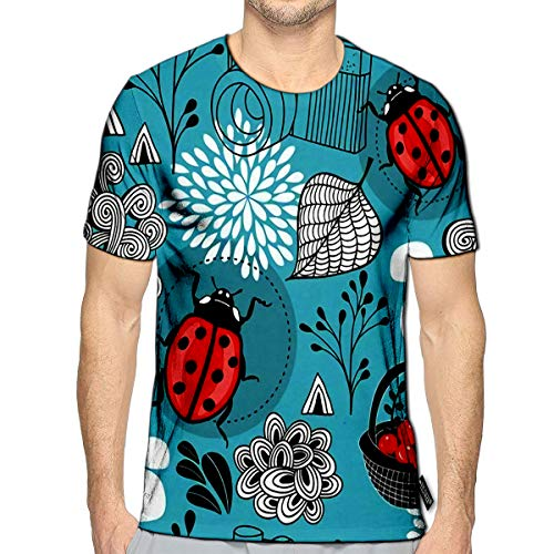 3D Printed T Shirts Autumn with Bugs and Berries in The Basket Casual Mens Hipster Top Tees c