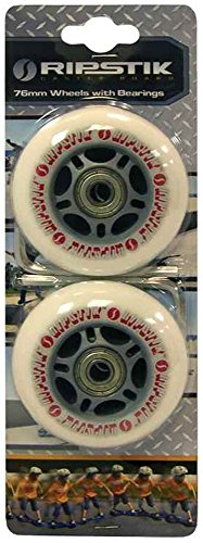 Razor RipStik Caster Board Genuine Replacement Wheels (Set of 2) Color: GRAY 76mm with ABEC-5 Bearings with Active Energy Power & Balance Necklace $49 Value ()