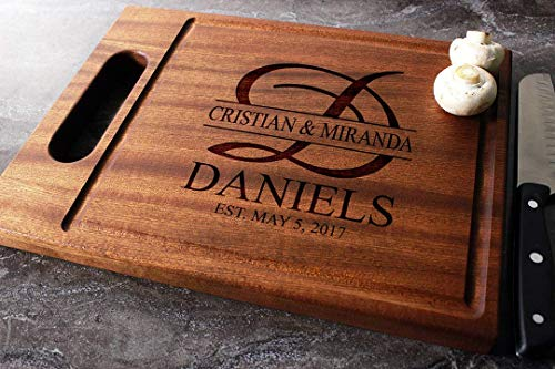 Personalized Engraved Custom Cutting Board - Walnut, Sapele or Maple #27