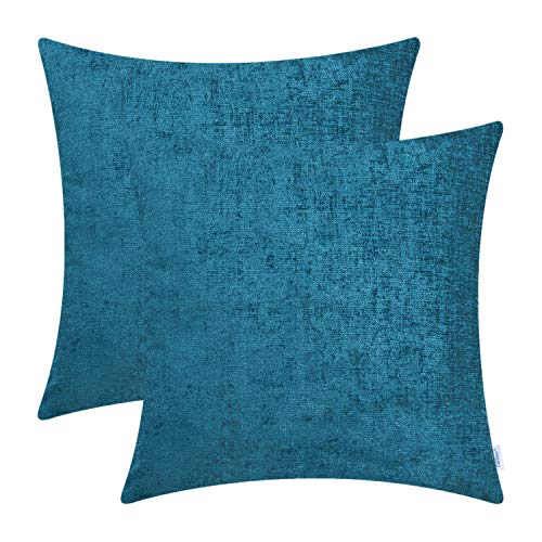 Cheap CaliTime Pack of 2 Cozy Throw Pillow Covers Cases for Couch Sofa Home Decoration Solid Dyed Soft Chenille 18 X 18 Inches Deep Sea Blue