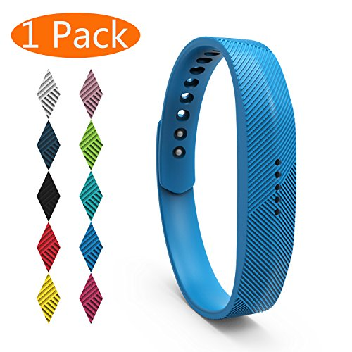 eplacement Bands for Fitbit Flex 2, Soft Silicone Fitbit Flex 2 Band with Metal Buckle Fitness Wristband Sport Strap Women Men (1-Pack, Sky Blue, Small) ()