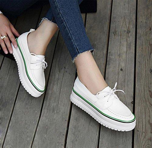 Frau Frühling Aufzugsschuhe schnüren Schuhe Student Schuhe dicke Kruste Steigung in der Ferse mit einem einzelnen Schuh Muffin green