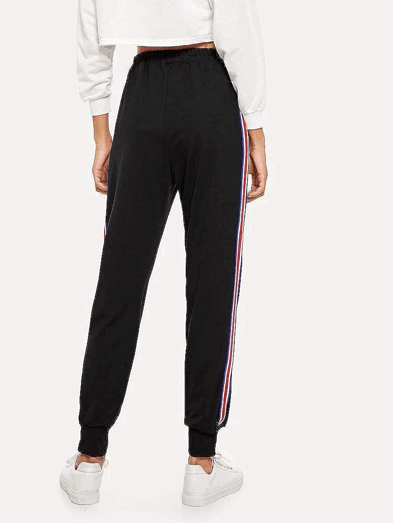 BUDERMMY Womens Jogger Sports Pants Stripes Drawstring Sweatpants Yoga Workout Bottoms with Pockets