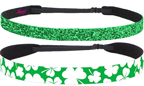 Hipsy Women's Non-Slip Headband St. Patrick's Day 2pk Adjustable Irish Green