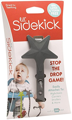 Lil' Sidekick - Multi-Functional Tether That Attaches to Strollers, Carriers, High Chairs, Car Seats & More - Save ANYTHING From Being Chucked Out of Reach (version 2.0) (Charcoal)