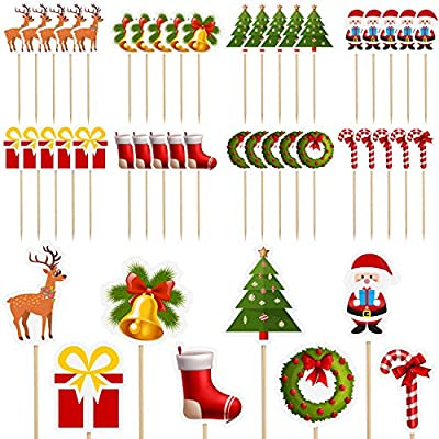 Zeagro 10 Pieces Christmas Cupcake Toppers Picks Merry Christmas Toothpick Flags for Christmas Cake Decorations Christmas Party Holiday Supplies-Gold