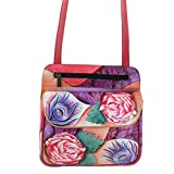 Anuschka Genuine Leather Handpainted Multi Pocket Travel Crossbody (Rosy Reverie)