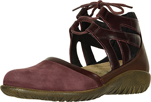 NAOT Footwear Women's Lace-up Kata Shoe Violet Nubuck/Bordeaux Lthr/Toffee Brown Lthr 9 M US
