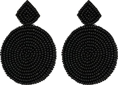 Kenneth Jay Lane Black Ring - Kenneth Jay Lane Women's Small Black Diamond Shape Top/Round Seedbead Pierced Earrings Black One Size