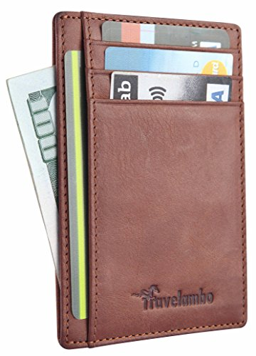 Leather Slim Billfold Wallet (Travelambo Front Pocket Wallet Minimalist Wallets Leather Slim Wallet Money Clip RFID Blocking (black) (vintage)