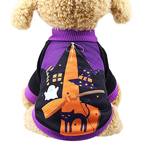 Halloween Party Pet Costume, Puppy Pumpkin Witch Cotton Sweatshirts T Shirt Sweater Winter Warm Clothes (Purple, -