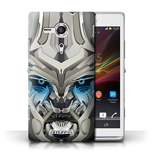 Etui / Coque pour Sony Xperia SP/C5303 / Mega-Bot Bleu conception / Collection de Robots